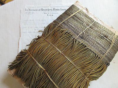 "12 YARDS SPECIAL PRICE Antique Vintage UNUSED French 8"" Gold Metallic Fringe"
