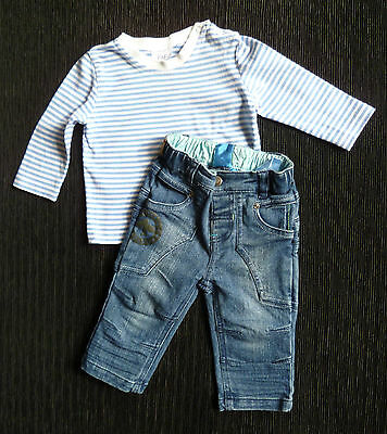 Baby clothes BOY 3-6m outfit denim jeans/trousers/blue/white stripe long sleeve