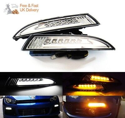LED Daytime Running Light Clear Sidelight Signal Indicator DRL 08-14 VW Scirocco