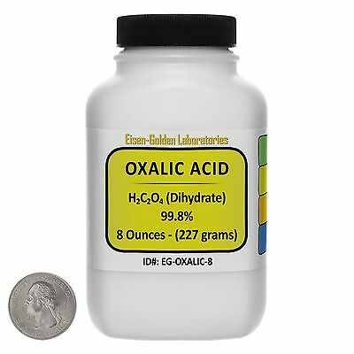 Oxalic Acid [C2H2O4] 99.8% ACS Grade Powder 8 Oz in a Space-Saver Bottle USA