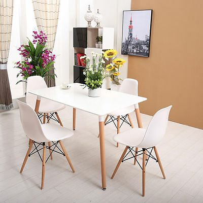 White Eiffel Dining Set RectangleTable Wood Legs 4 Chairs DSW Style