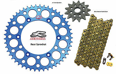 Renthal Blue Sprocket and Gold Chain Kit Yamaha YZ250f YZ 250f 01-15 14-52T
