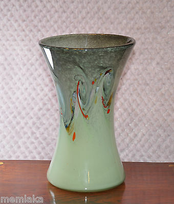Beautiful Large Vintage Early Strathearn Scottish Green Glass Vase (0512)
