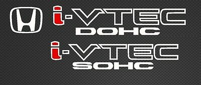 Honda I-Vtech DOHC SOHC Decal Stickers Set of 3 Civic Accord Prelude CRX SI