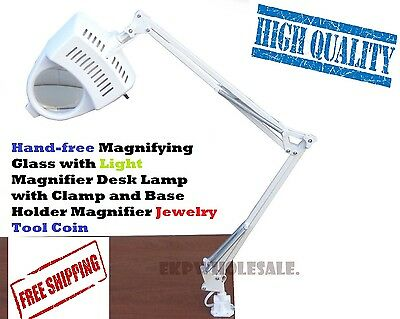 Lamp magnifier magnifying desk light 5x glass clamp mount table Lighted Magnifyi