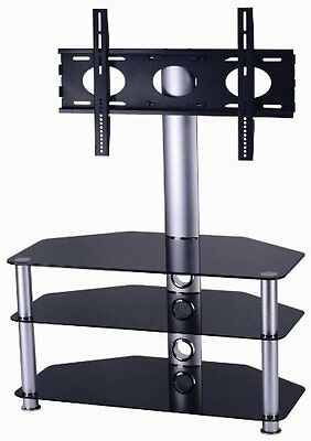 """Mountright Cantilever Glass TV Stand For Up To 50"""" LED, LCD & Plasma Screen"""