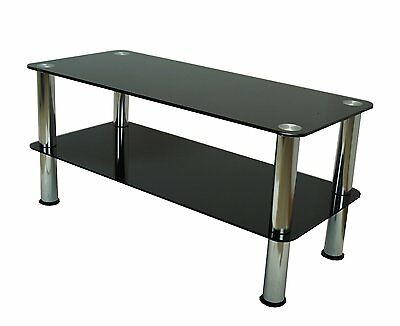 Mountright Premium Coffee Table Tv Stand Black Glass Silver Legs 90 Cm Wide