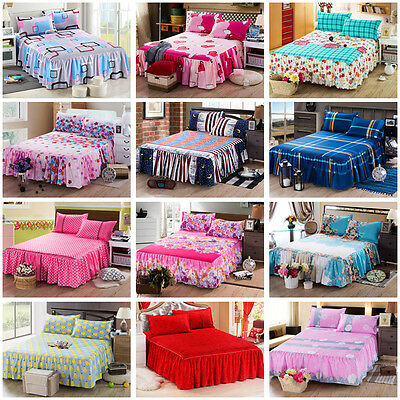 22 Color Elastic Bedspread All Size Dust Ruffle Bed Skirt Pillowcase Bedding Set