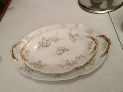 Two Antique Limoges Haviland Pink Floral Platters Over 100 Years Old