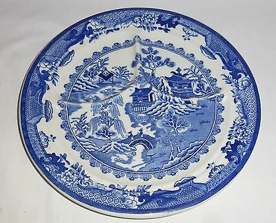 """Shenango China Blue Willow Divided Grill Plate  (9 3/4"""")"""
