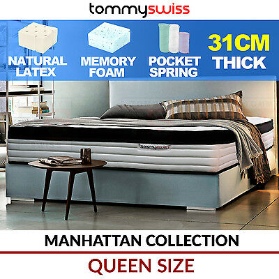 TOMMY SWISS Queen Size Luxury Pocket Spring Mattress Natural Latex & Memory Foam