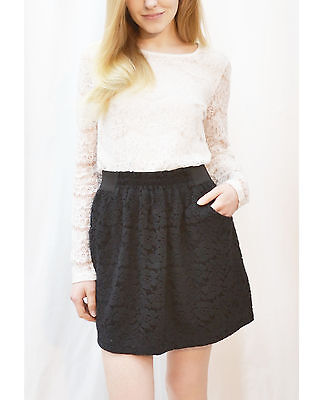 Lady black lace skater skirt with front pockets elasticated waist casual base