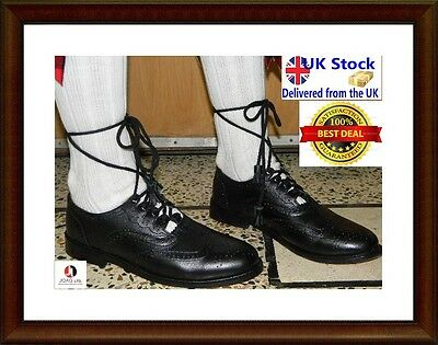 Ghillie Brogues Black Leather Gillie Brogues Scottish Kilt Shoes kilt shoes