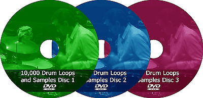 Drum Loops + Samples, 10,000 percussion audio music DJ wav loop sample 3 DVD set