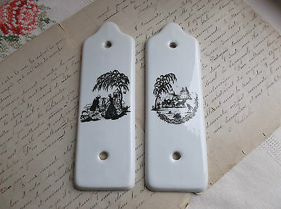 French 2 of porcelain door plates Limoges nicely detailed black & white