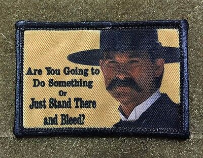 Tombstone Stand There and Bleed Morale Patch Tactical Military USA Hook Badge