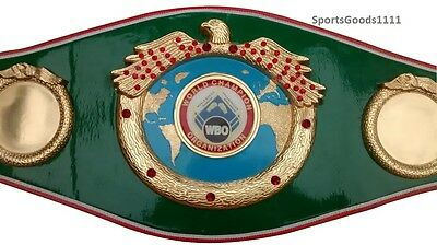 "WBO Boxing Replica Championship Belt Green 4 Metal plate 50"" Wholesale to public"