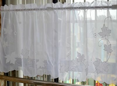 2 X White Kitchen Curtains/ Cafe Curtains with Maple Leaves