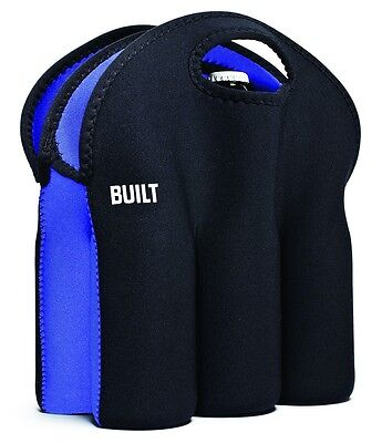 BUILT Six Pack Beer / Sauce Bottles Neoprene Cooler Bags/Totes Black