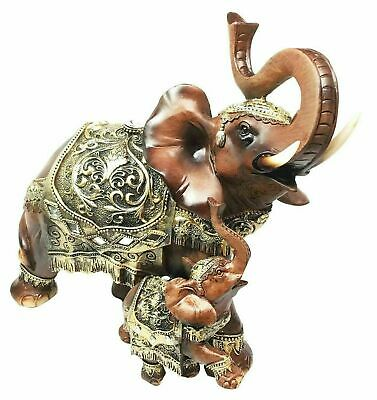 """Large Faux Wood Resin Decorated Noble Trunk Up Elephant With Calf Figurine 10""""L"""