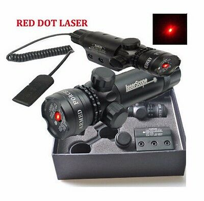 Red dot Laser sight rifle gun scope with Rail Barrel Mount Cap Pressure Switches