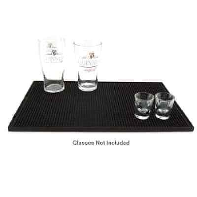 Black 18'' x 12'' Rubber Bar Service Spill Mat Beer Pad Barware Wine Cover New