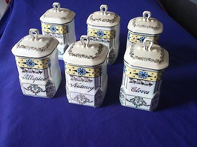 6 piece antique victoria czecho slovakia spice set stamped and numbered