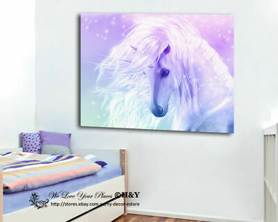 Unicorn Stretched Canvas Print Framed Wall Art Kids Room Decor Painting Cartoon