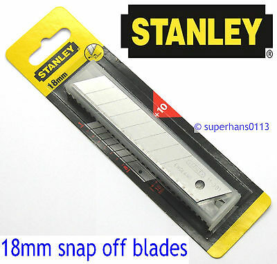 10 x 18mm GENUINE Stanley Snap Off Heavy Duty Utility Craft Knife Handle Blades