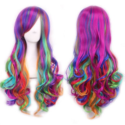 Lolita Rainbow Wigs Women's Long Curly Wavy Cosplay Costume Colorful Full Wig