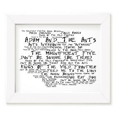 `Noir Paranoiac` ADAM AND THE ANTS Art Print Typography Album Song Signed Poster