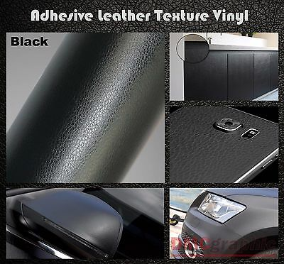 Black Leather Texture Adhesive Vinyl Wrap Film Sticker For Body Panel Furniture