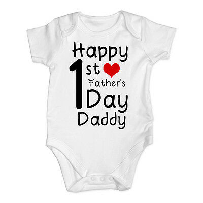 Happy First Father's Day Personalised Baby Vest Bodysuit Sleepsuit