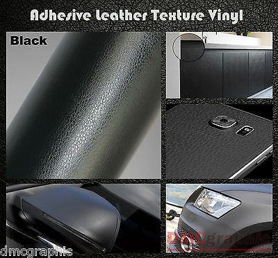 100x152cm Black Leather Texture Adhesive Car Furniture Vinyl Wrap Film Sticker