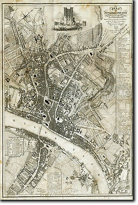 Map Of Newcastle From 1833 - Historic Vintage Photo Print Poster