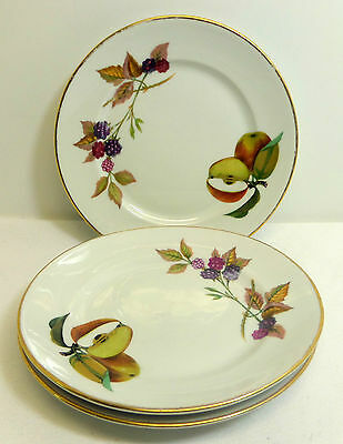 Set of 3 Evesham Gold Bread and Butter Plates Royal Worcester England