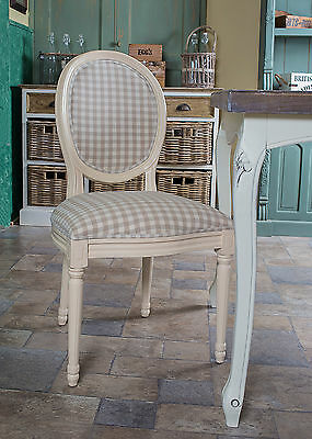 French Louis Side Chair White Check Antique Farmhouse Gingham Bedroom Dining