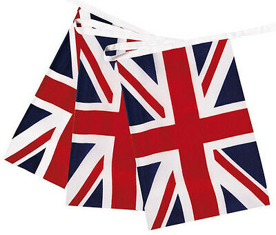 Fabric British Union Jack Bunting Flag 10M with 30 Flags(16cmX23cm) Double Sided