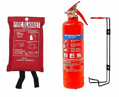 BSi Kitemarked 1KG DRY POWDER ABC FIRE EXTINGUISHER+FIRE BLANKET HOME OFFICE CAR