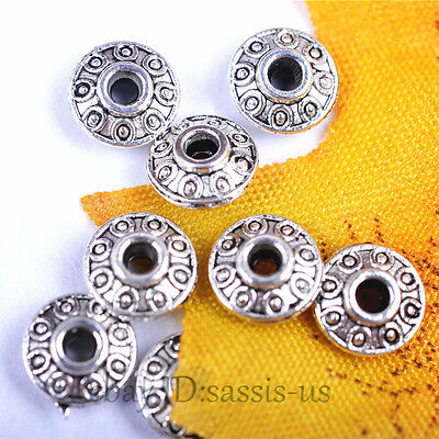 200pcs 6mm Charms Spacer Beads 2mm Hole Bail Tibet Silver DIY Jewelry A7036