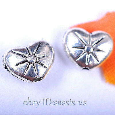 70pcs 8mm Charms Love Heart Bead Spacer Beads Tibet Silver DIY Jewelry A7038