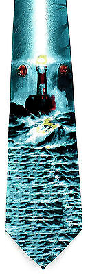 He is the Light Mens Necktie Lighthouse Christian Jesus Religious Teal Neck Tie