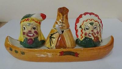 Occupied Japan Indian Salt and Pepper On Canoe With Teepee Souvenir New Mexico