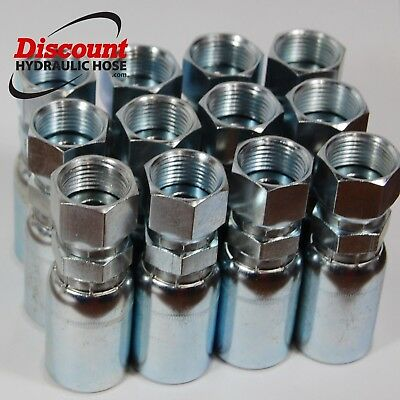 "(12) FFX-06-06 Hydraulic Hose Crimp Fittings 3/8"" x #6 ORFS Face Seal 06U-S66"
