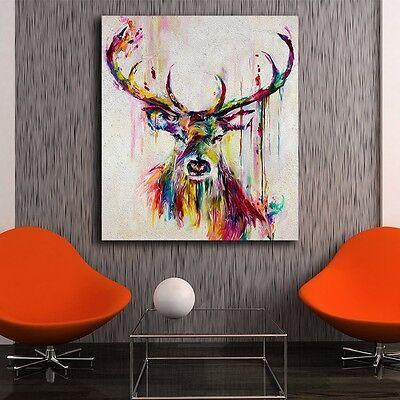 Framed Canvas Prints Stretched Watercolor Deer Wall Art DIY Home Decor Painting