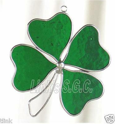 Stained Glass Green 4 Leaf Clover Sun Catcher