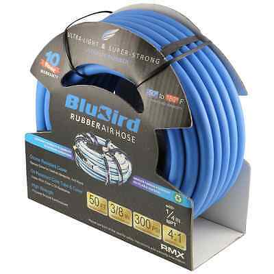"Air Hose- BluBird 3/8"" x 50' Heavy Duty 100% Rubber Hose"