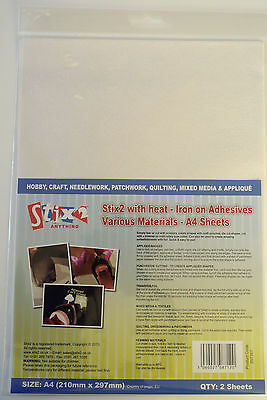 Stix2 A4 Sheets - With Heat - Iron on Adhesives - Various Materials