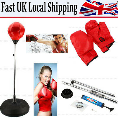 Punch Height Bag Ball Red Mitts Gloves Kit Boxing Set For Adult Free Standing Uk