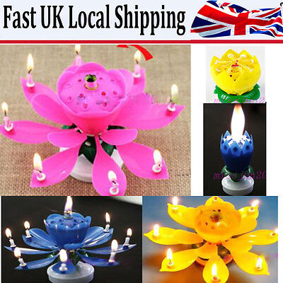 Charms Flower Candle Gift Happy Birthday Magical Rotating Musical Blossom Lotus